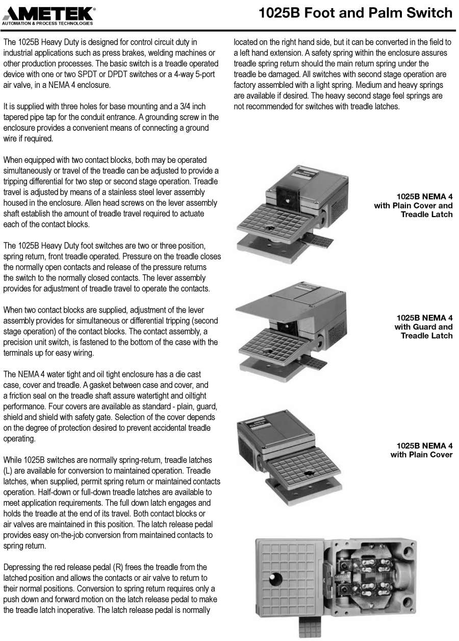 Products Press Safety Products1025 Spdt Switch Wiring Diagram Foot 1025b And Palm Replacement Parts